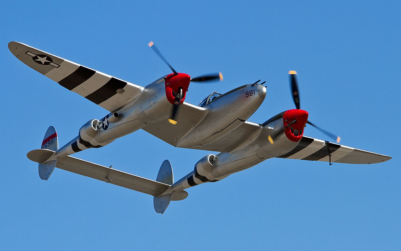 vintage airplanes warbird p 38 lightning fighters HD Wallpaper 1280x800