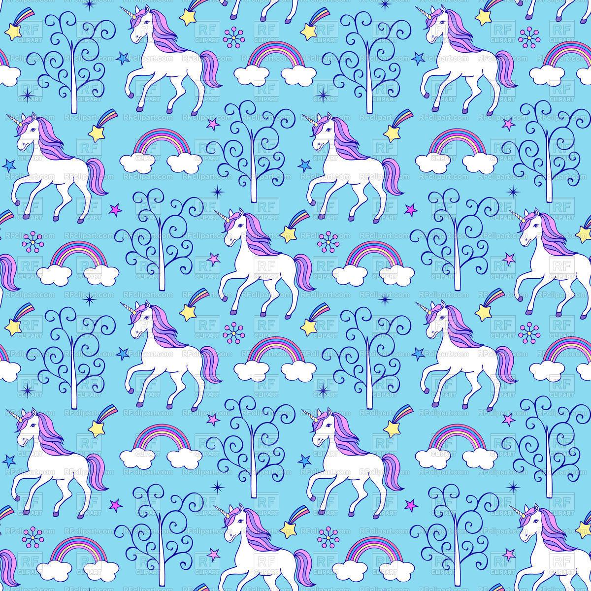 Seamless pattern with unicorns on blue background Vector Image of 1200x1200
