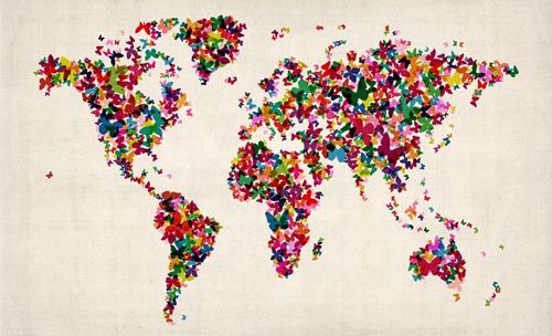 Free Download Wallpaper Butterflies Art Map Of The World