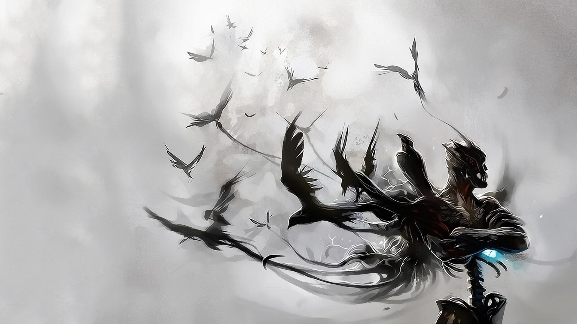 Raven Artwork Wallpaper For Android Wallpaper WallpaperLepi 1920x1080