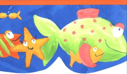 COLORFUL FISHIES FISH SEA CREATURE WALLPAPER BORDER Blue Room Dec 500x291