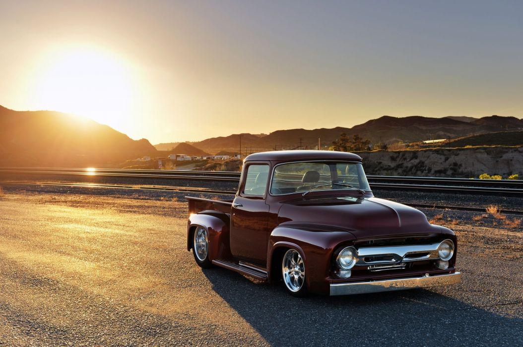 1956 Ford F 100 custom hot rod rods pickup lowrider f100 wallpaper 1054x700