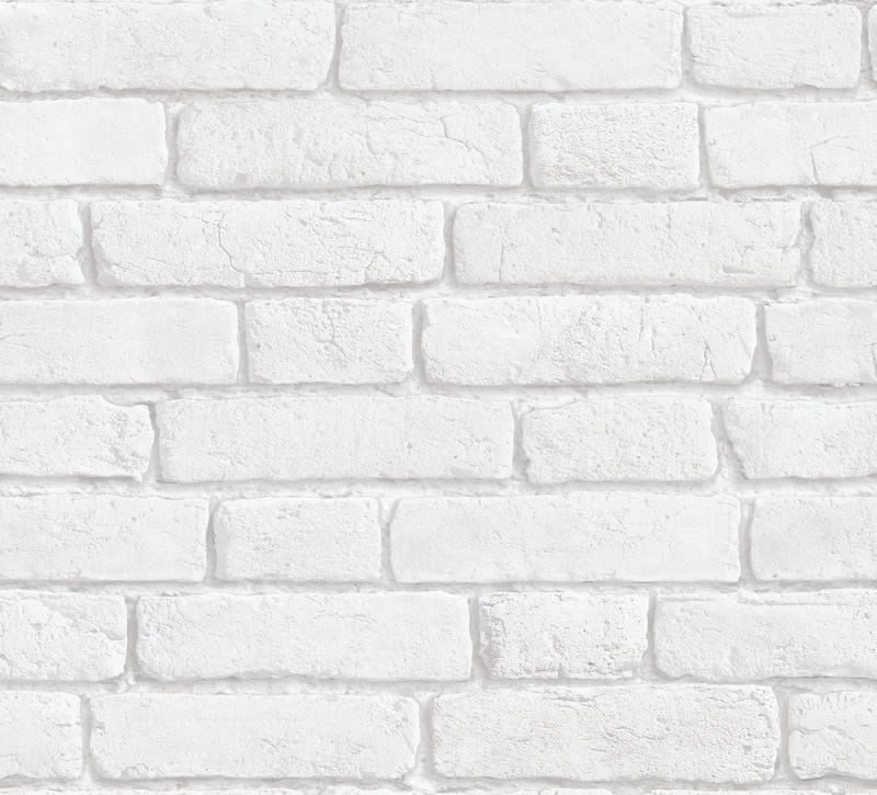 Vintage Brick Wall Wallpaper White 10M 800x725
