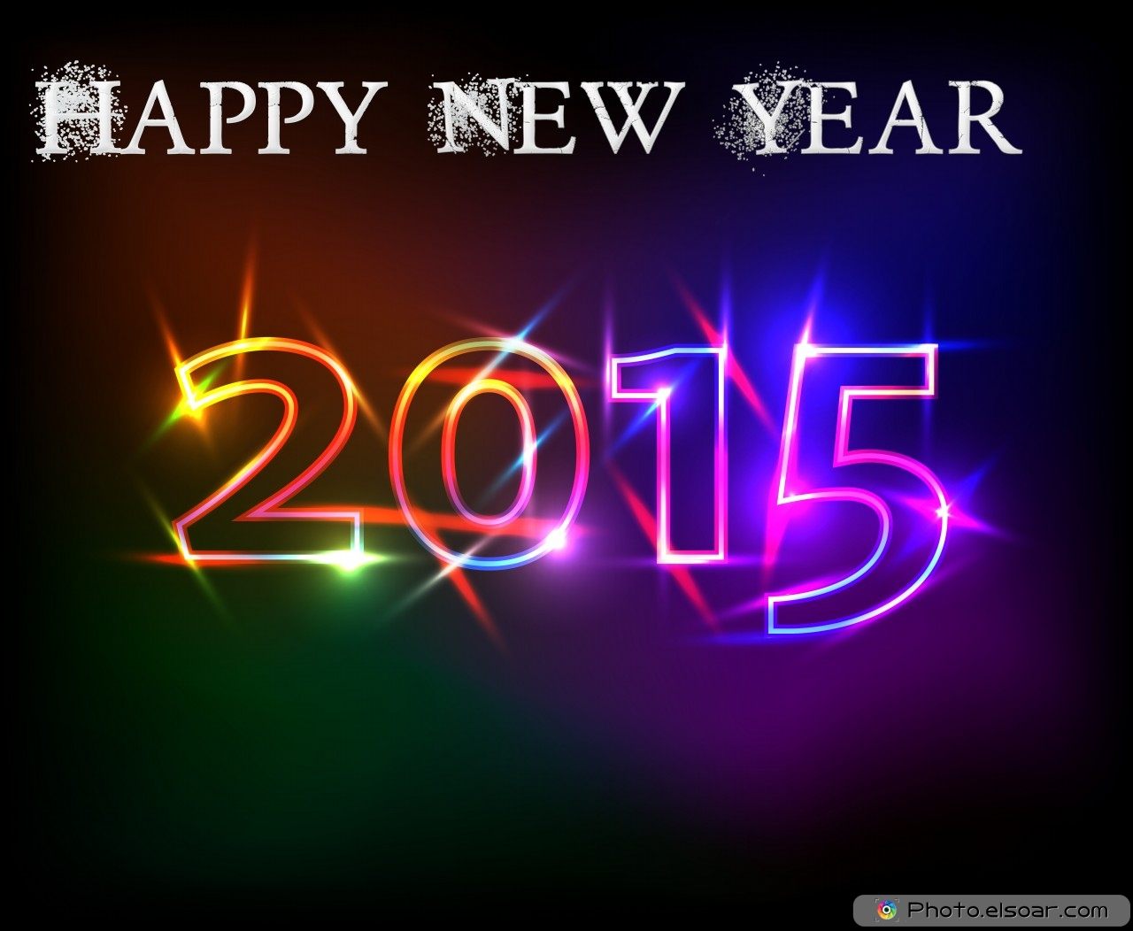 Happy New Year 2015 Hot Colors On Black Backgrounds 1280x1052