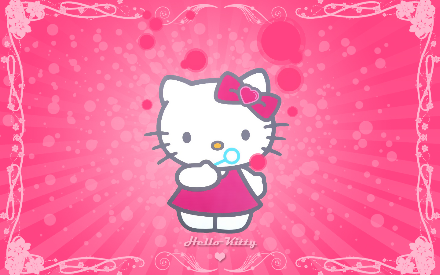 Hello Kitty Cute Pink Background Wallpaper WallpaperLepi 1440x900