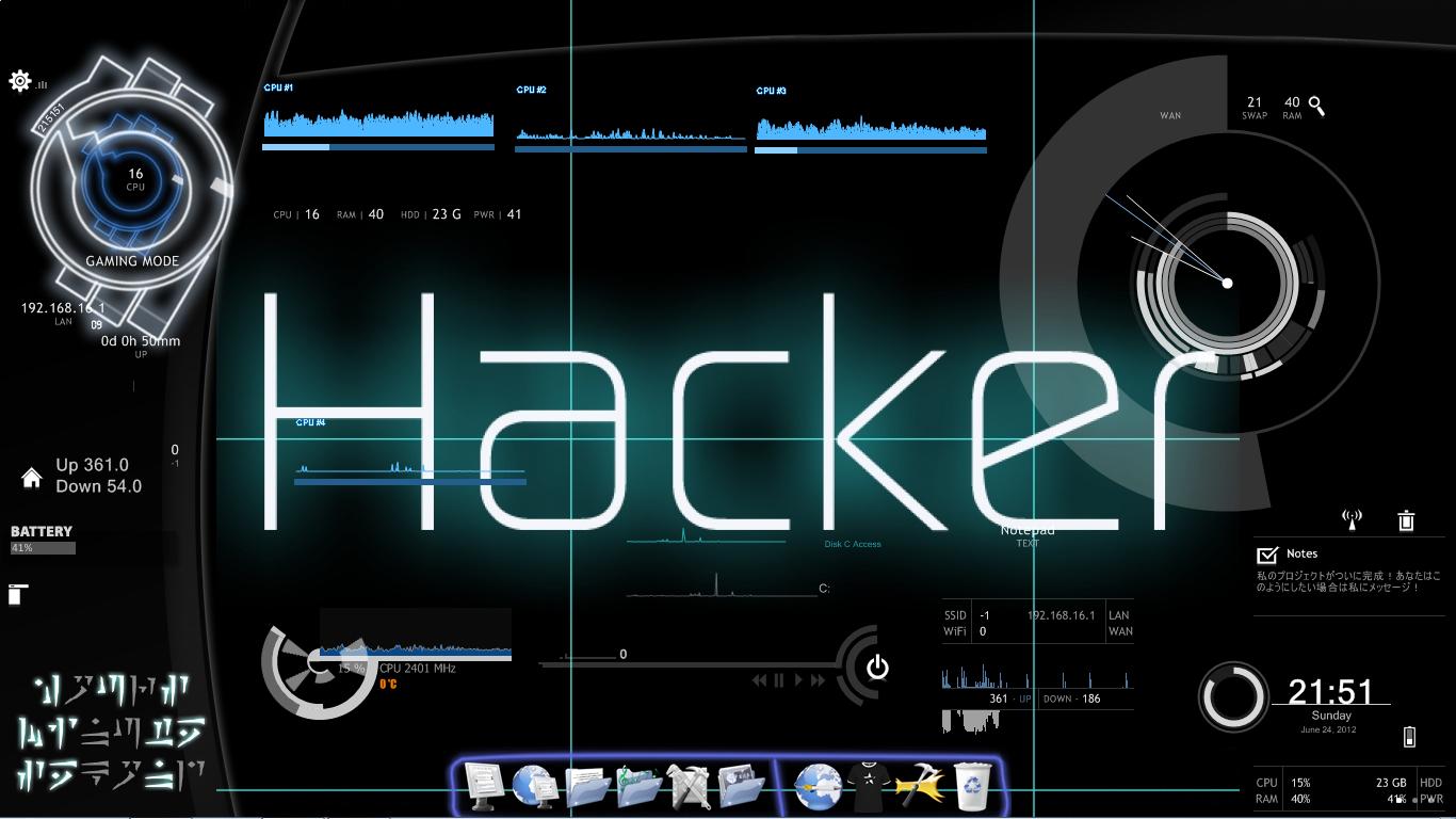 Moving Hacking Wallpaper 1366x768