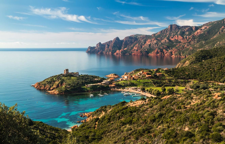 Wallpaper sea mountains rocks coast France home Bay yachts 1332x850