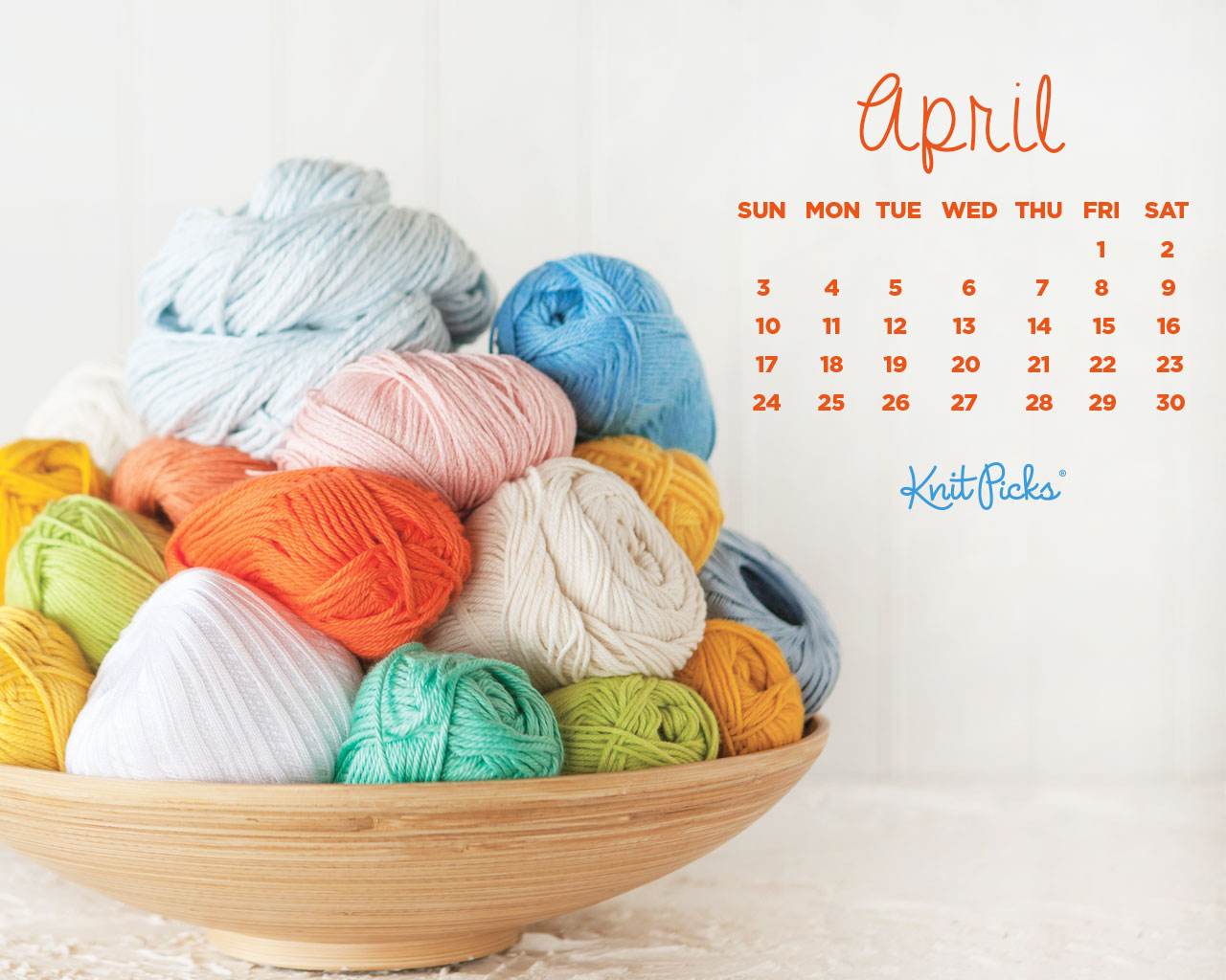April 2016 Calendar   KnitPicks Staff Knitting Blog 1280x1024