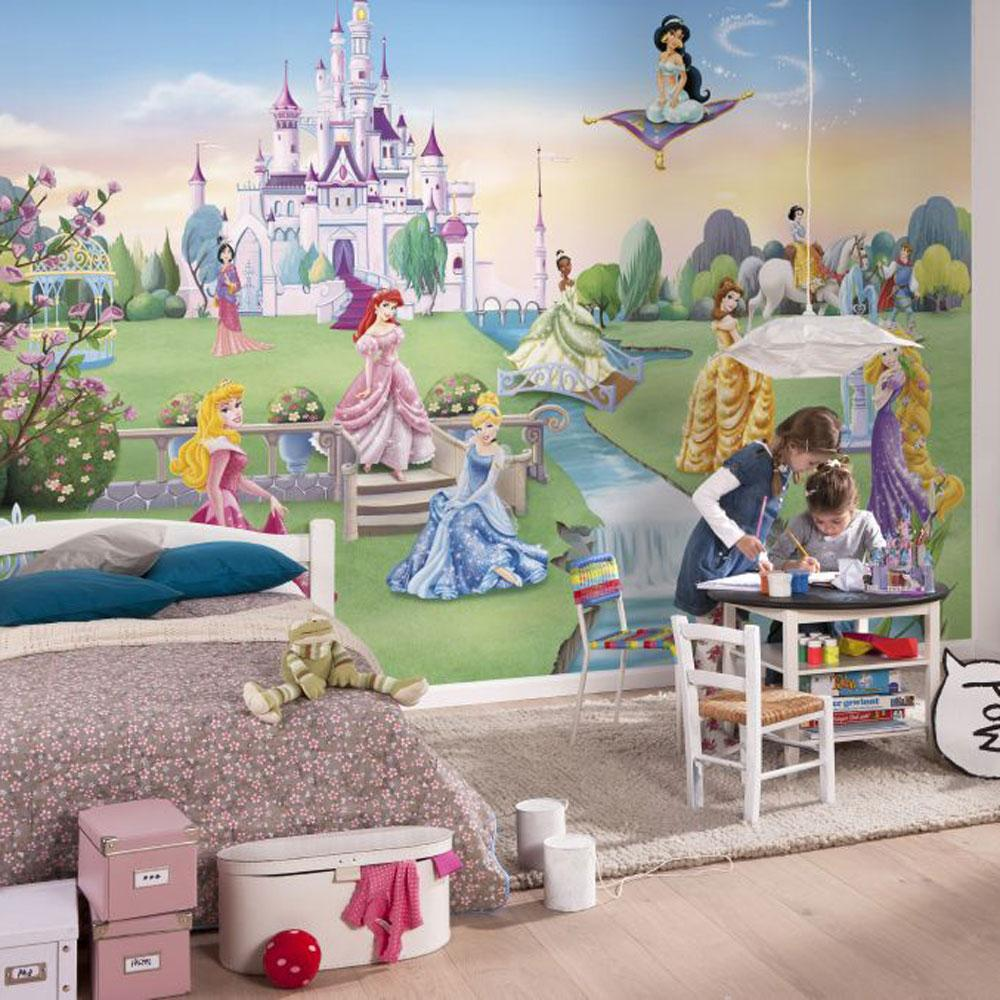 DISNEY PRINCESS CASTLE LARGE PHOTO WALL MURAL ROOM DECOR WALLPAPER 1000x1000