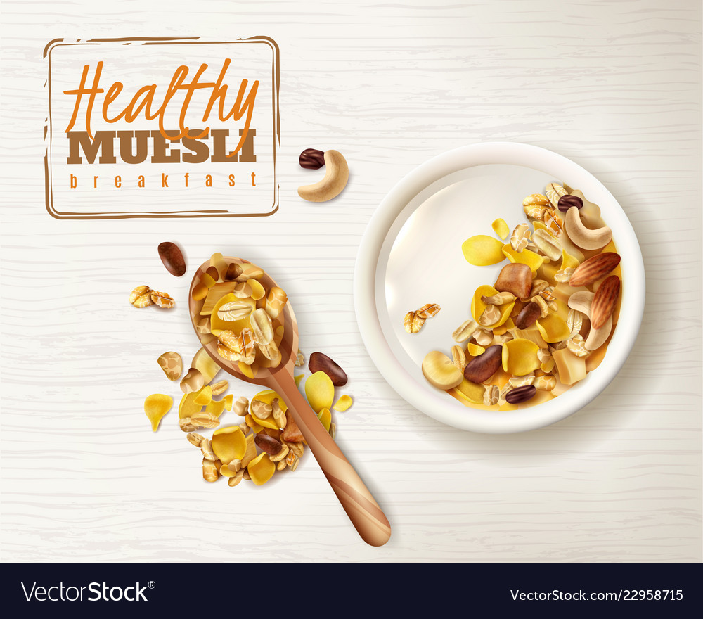 Muesli plate realistic background Royalty Vector Image 1000x880