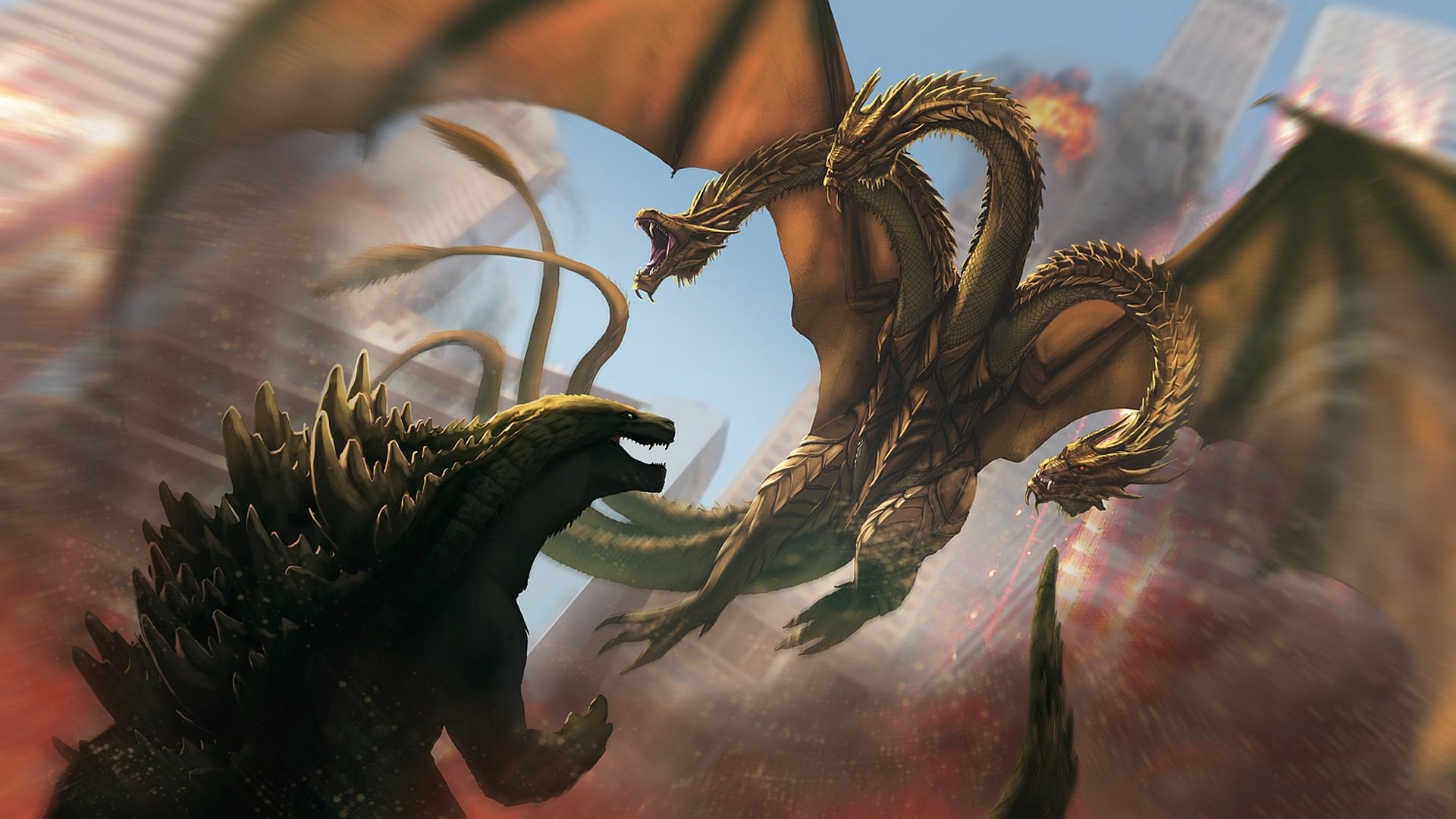 Ghidorah the Three Headed Monster HD Wallpaper Background Image 1920x1080