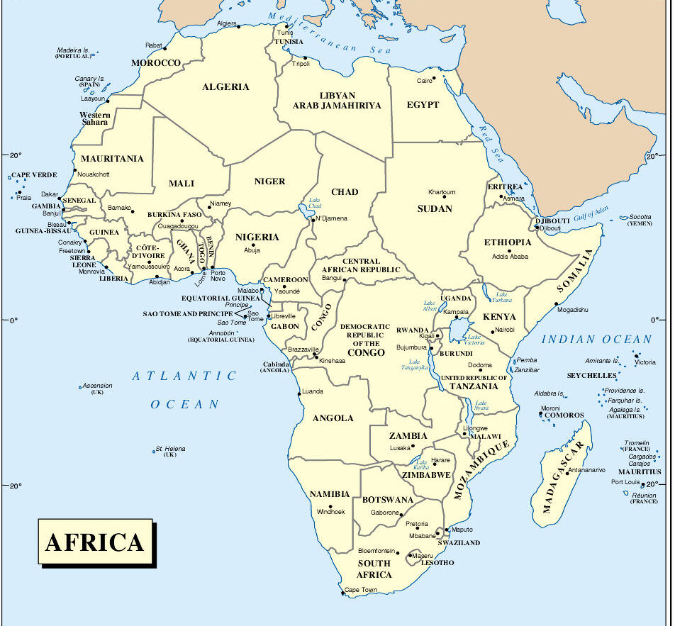 Africa Map Countries 952x883