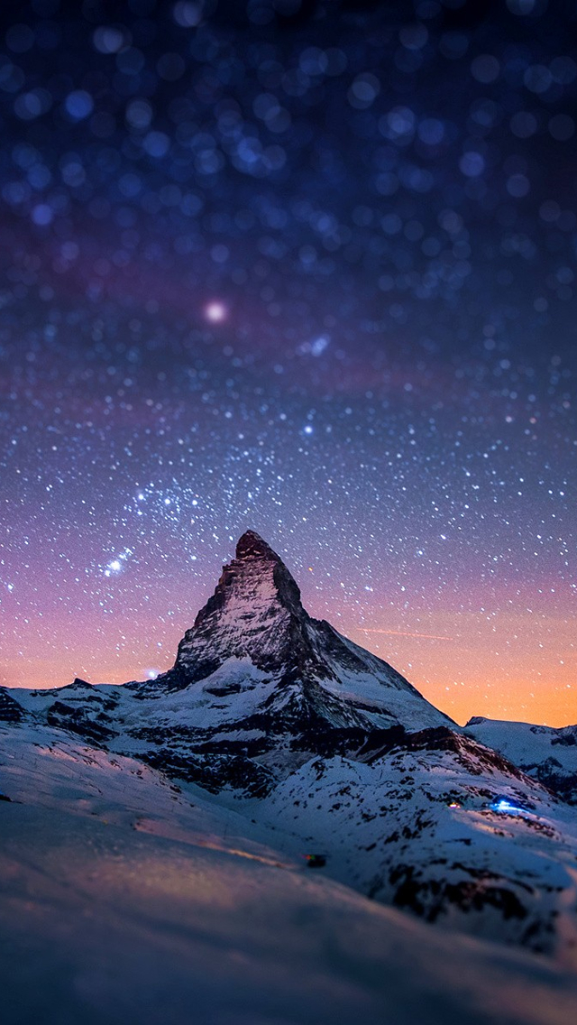 Snow Mountain Starry Sky iPhone 6 6 Plus and iPhone 54 Wallpapers 640x1136