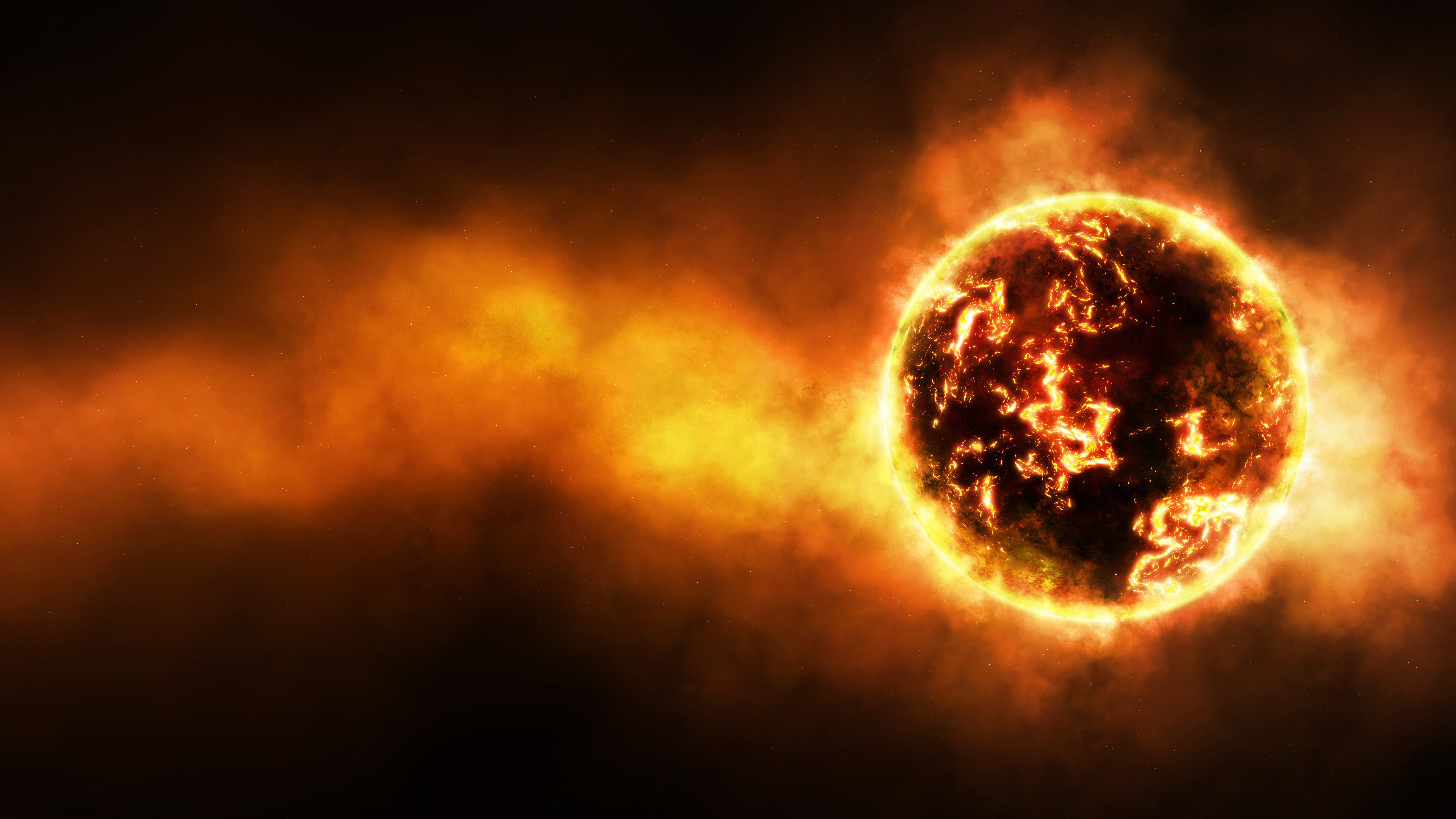 outer space planets fire glow fireball Wallpapers 5337x3000
