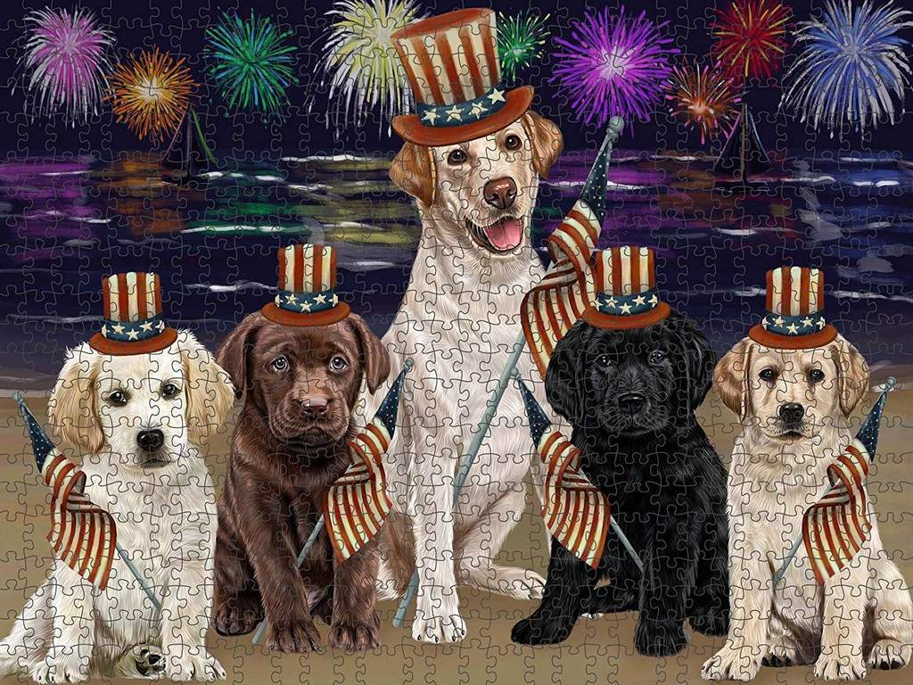 4th of July Independence Day Firework Labrador Retriever Dog Puzzle wi 1024x768