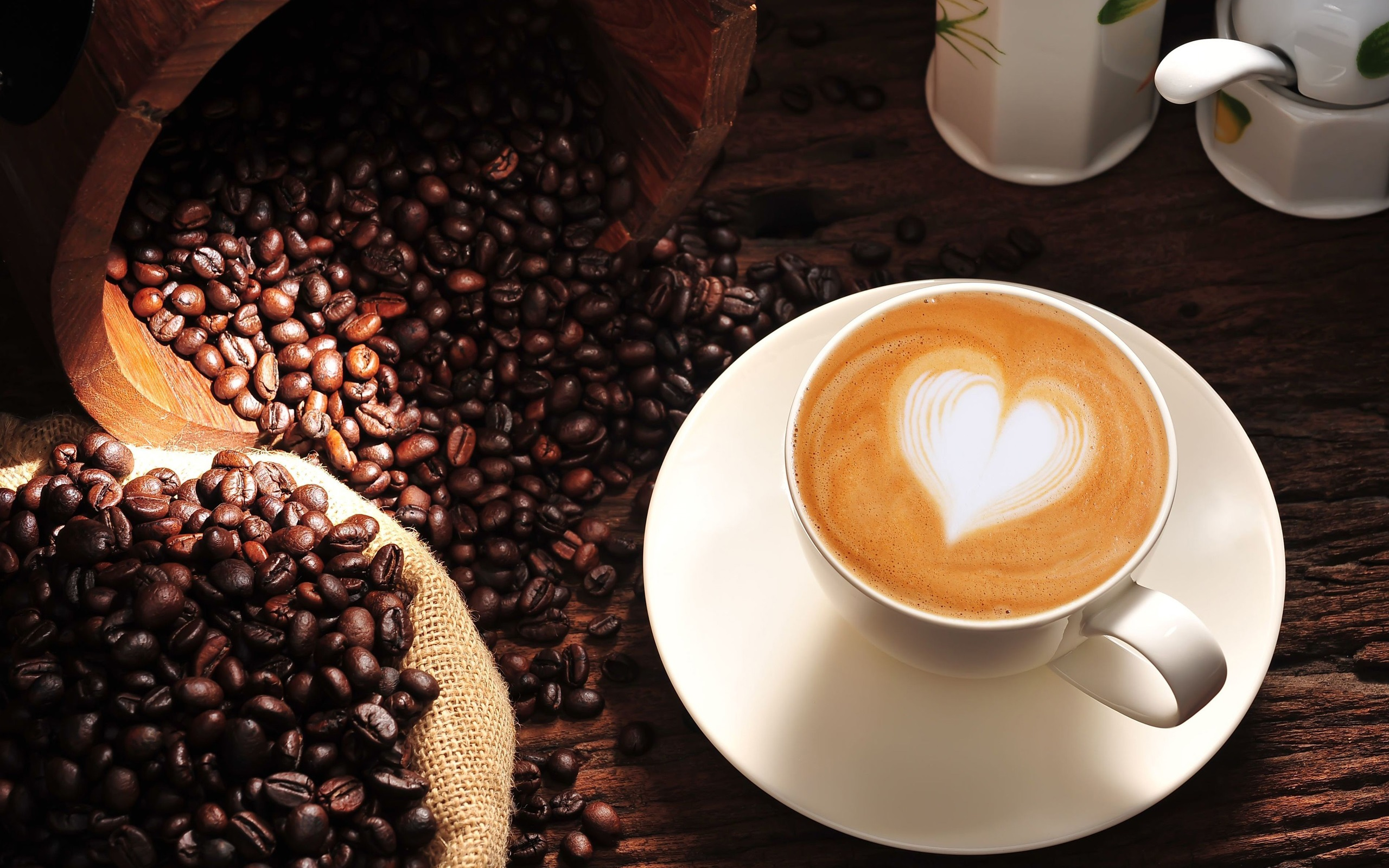 Coffee Wallpaper cappuccino heart love cup coffee beans HD 2560x1600