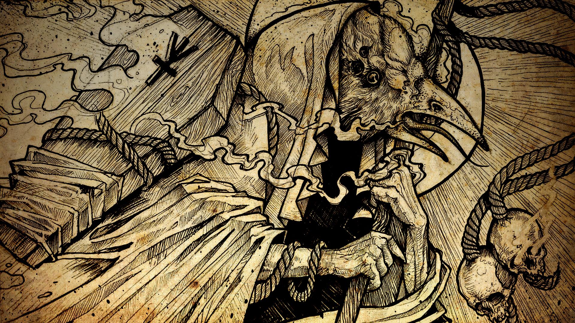 Dark goth gothic raven occult skulls skulls reaper 1920x1080