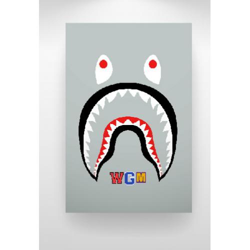 Home A Bathing Ape Bape Shark WGM Face Backpack Art Print Gray 500x500