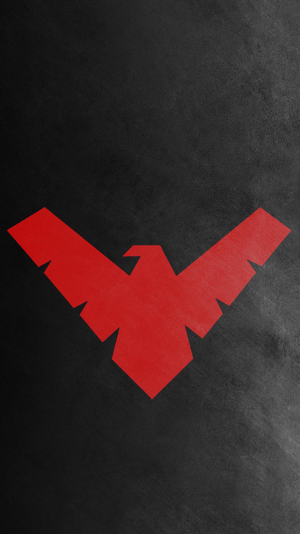 Nightwing Red Logo Wallpaper 1024x1820
