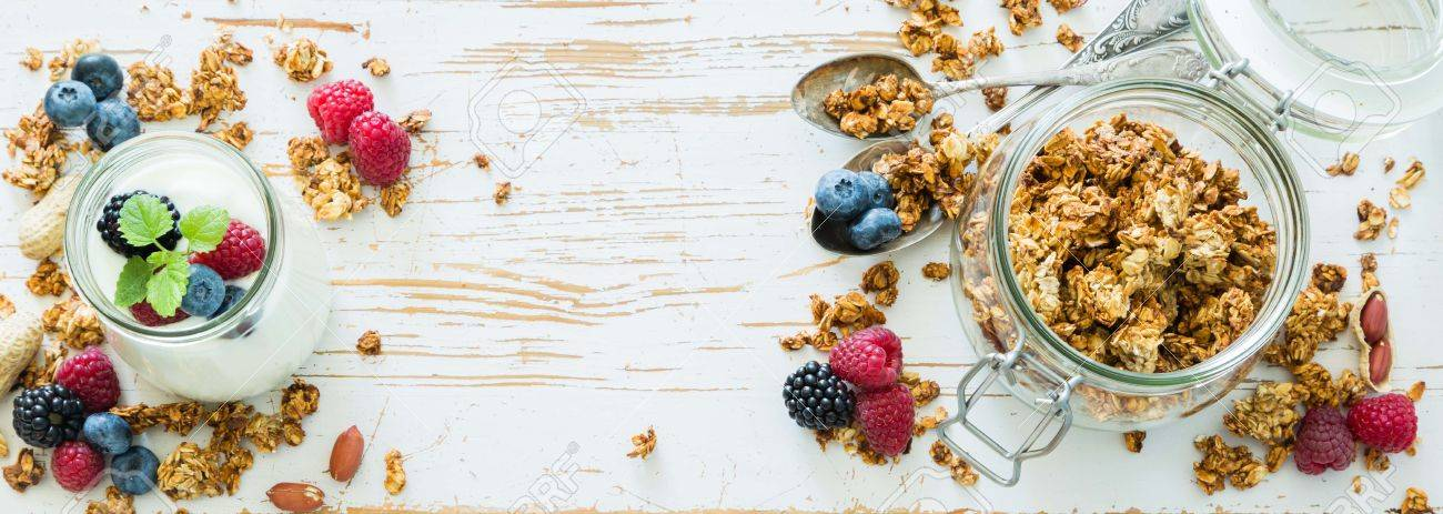 Granola With Berries On White Wood Background Top View Long 1300x463
