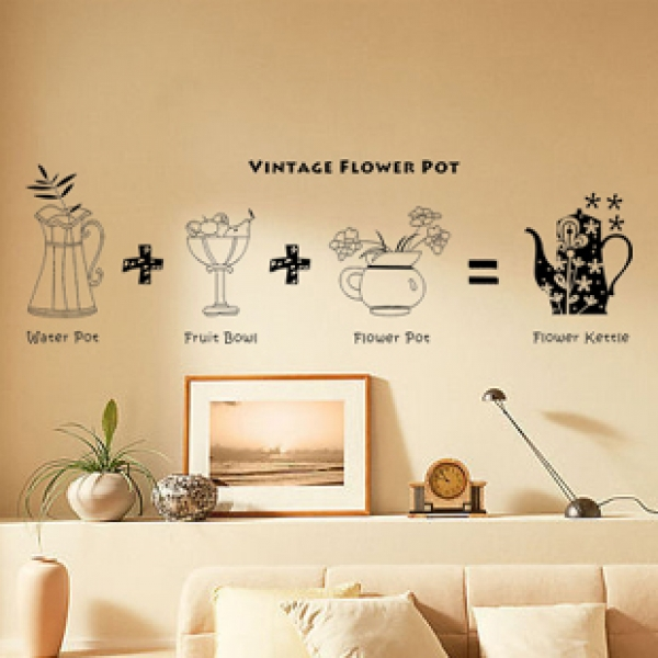 All matching Removable Wallpaper Wall Stickers with Retro Flower Pot 600x600