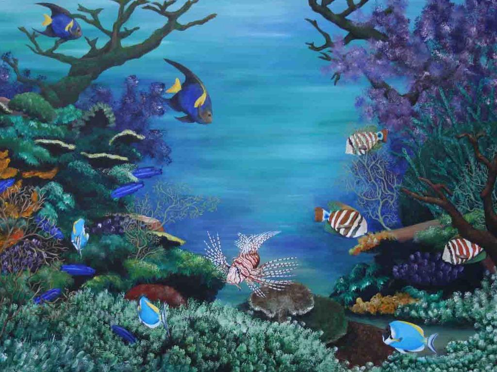 Undersea Preschool Mural Inspiration 1024x768