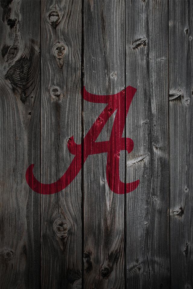 Alabama Crimson Tide Logo On Wood Background IPhone 4 Wallpaper 640x960