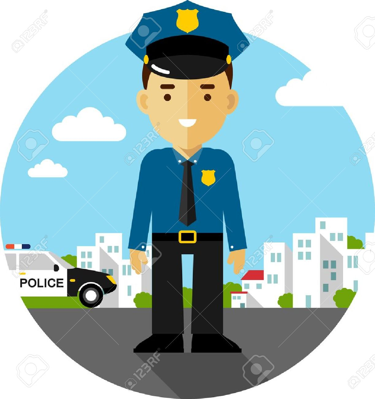 Policeman Officer On City Background With Police Car In Flat 1223x1300