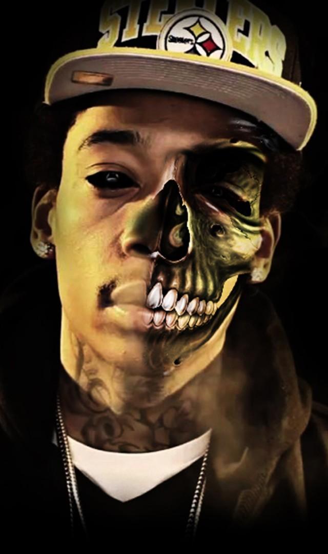 Wiz Khalifa Half Zombie Face Rap Wallpapers 640x1080