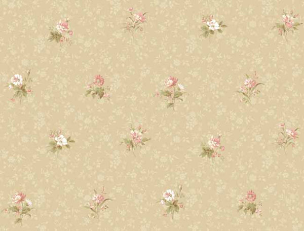 Beige Floral Toss Wallpaper   Wall Sticker Outlet 600x456