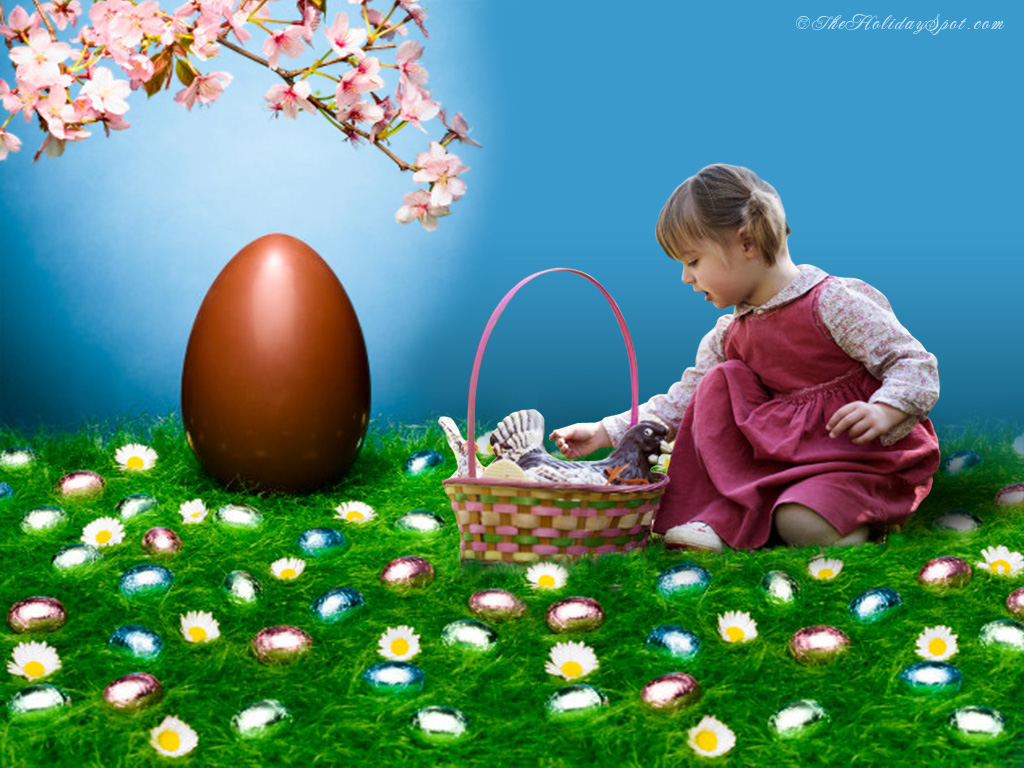 Easter wallpaper showing cute little girl hunting easter egg 1024x768