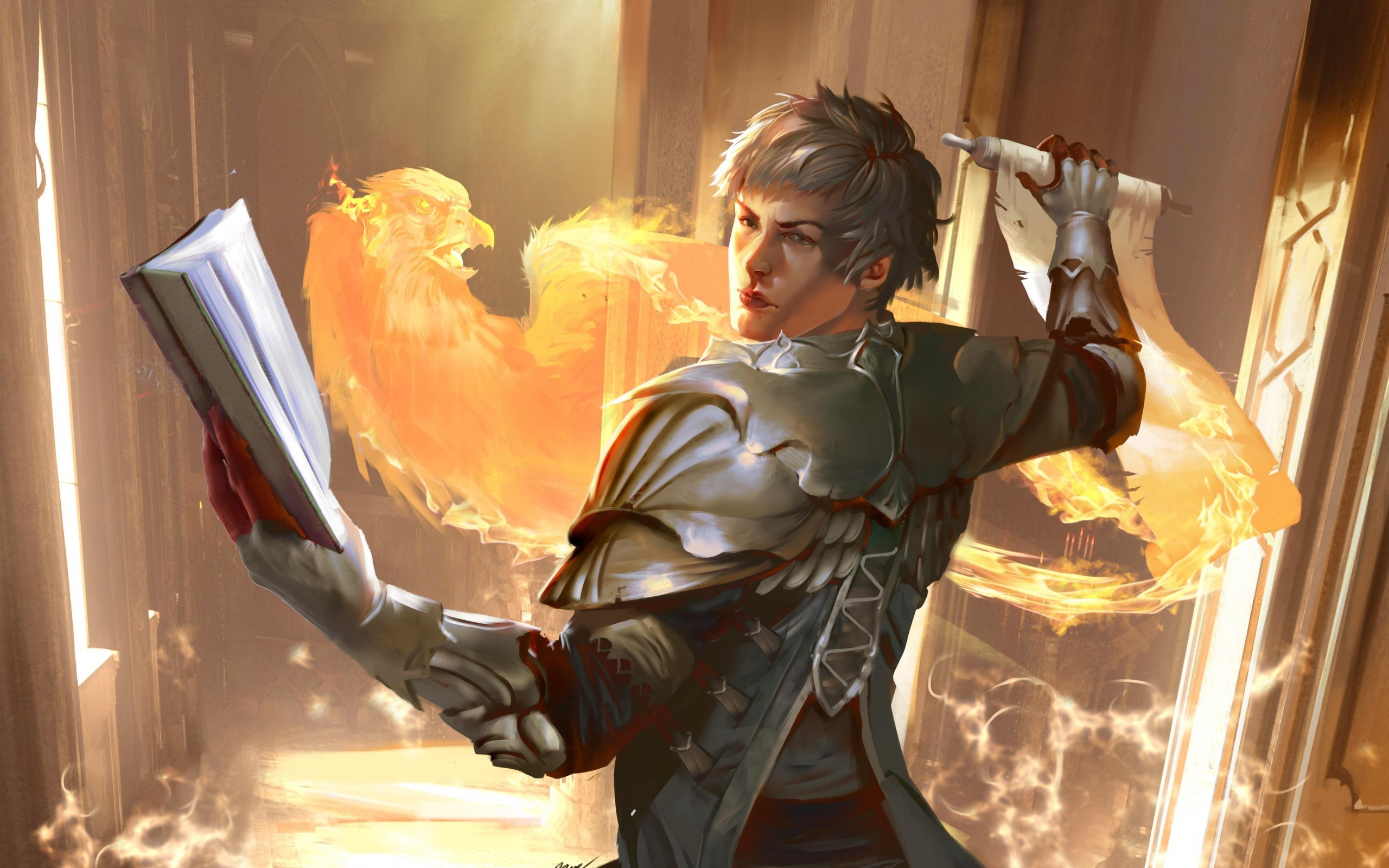 Download 2560x1600 Fantasy Man Phoenix Spellbook Armor Flame 2560x1600