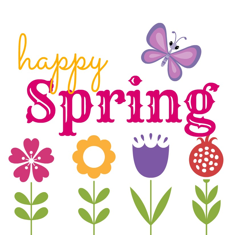 happy first day of spring clip art 874x822