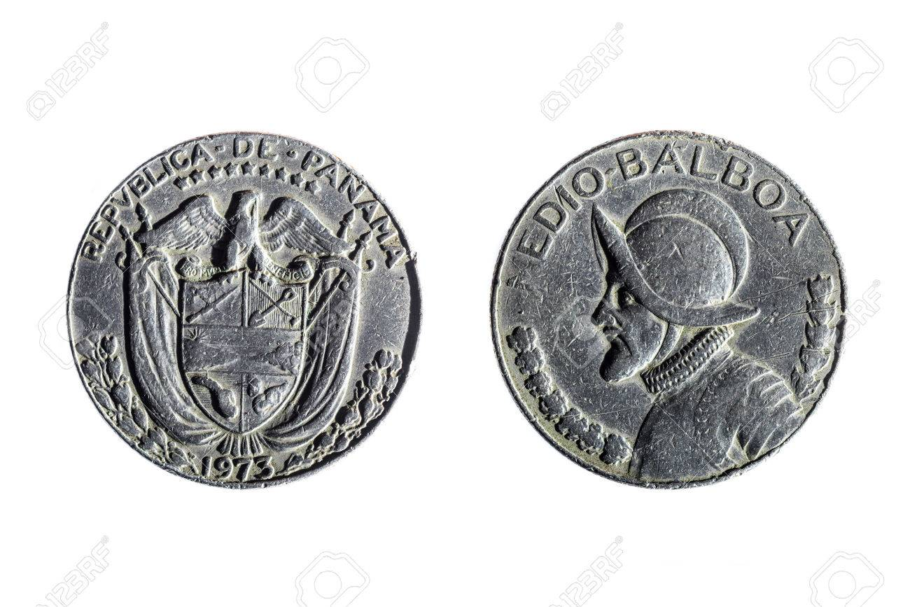 Front And Back Of Panamanian Coin Of Half Balboa On White 1300x867