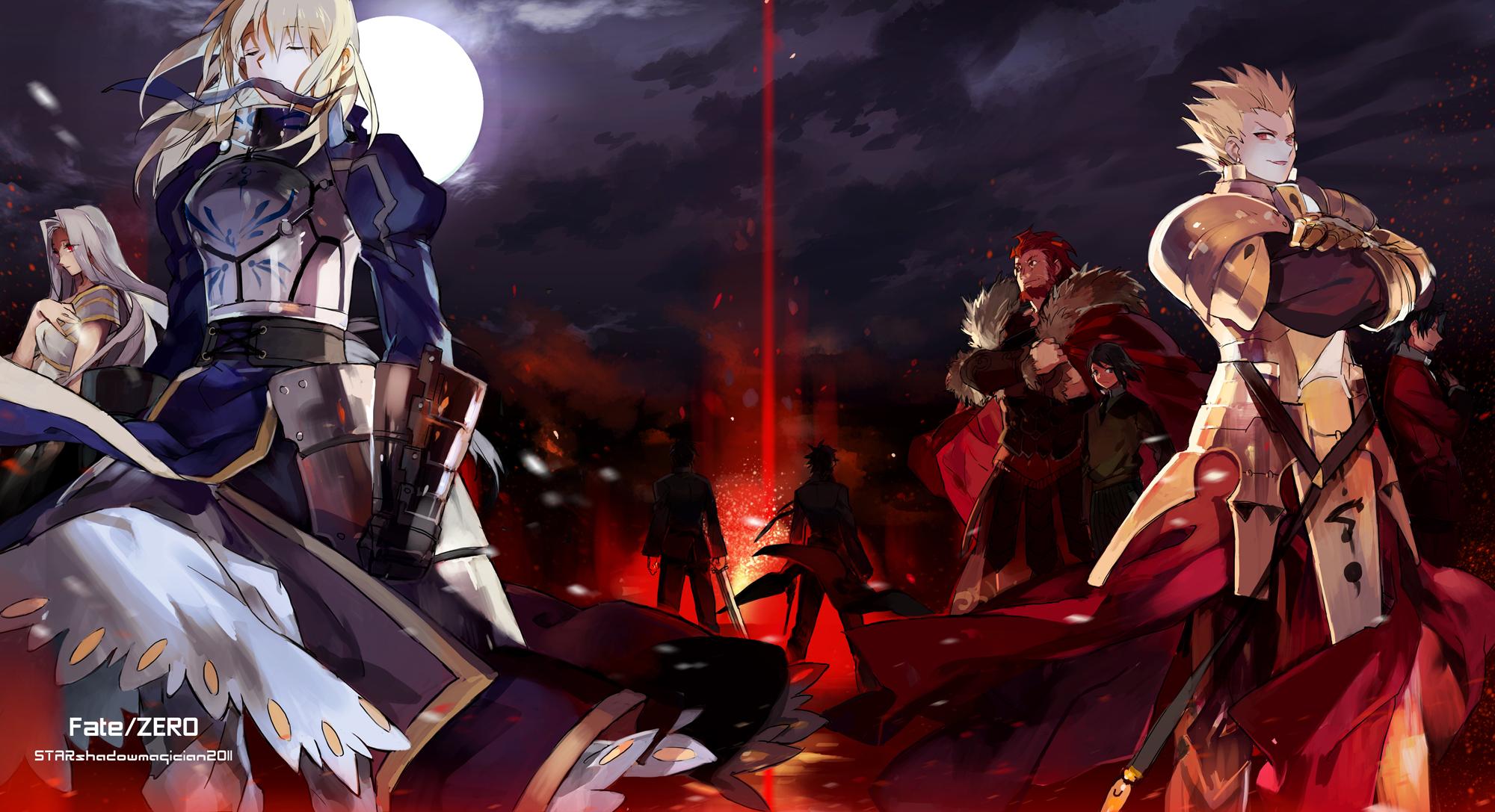 fate stay night fate zero gilgamesh kotomine kirei moon night 2000x1087