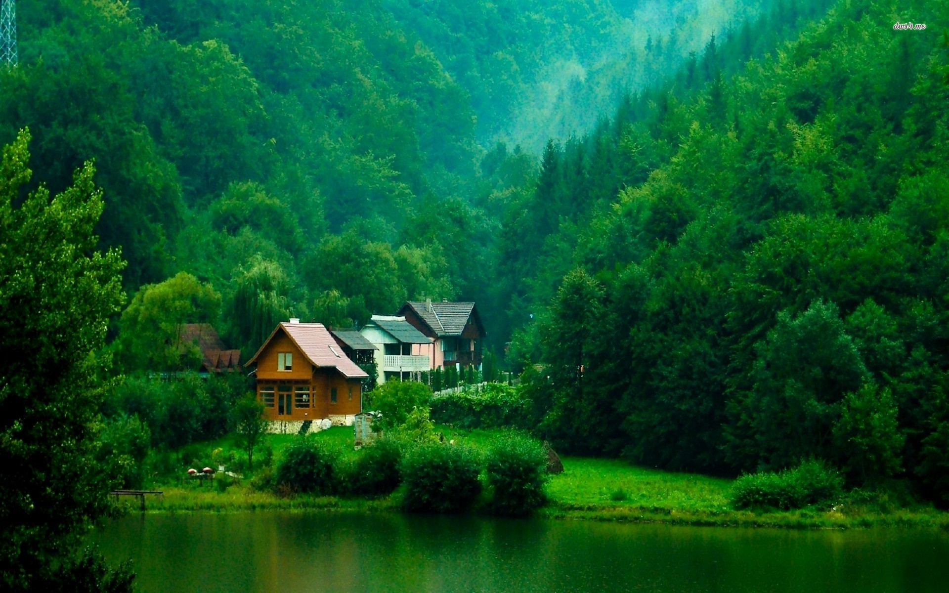 Cabins on the lakeside Transylvania wallpaper   World wallpapers 1920x1200