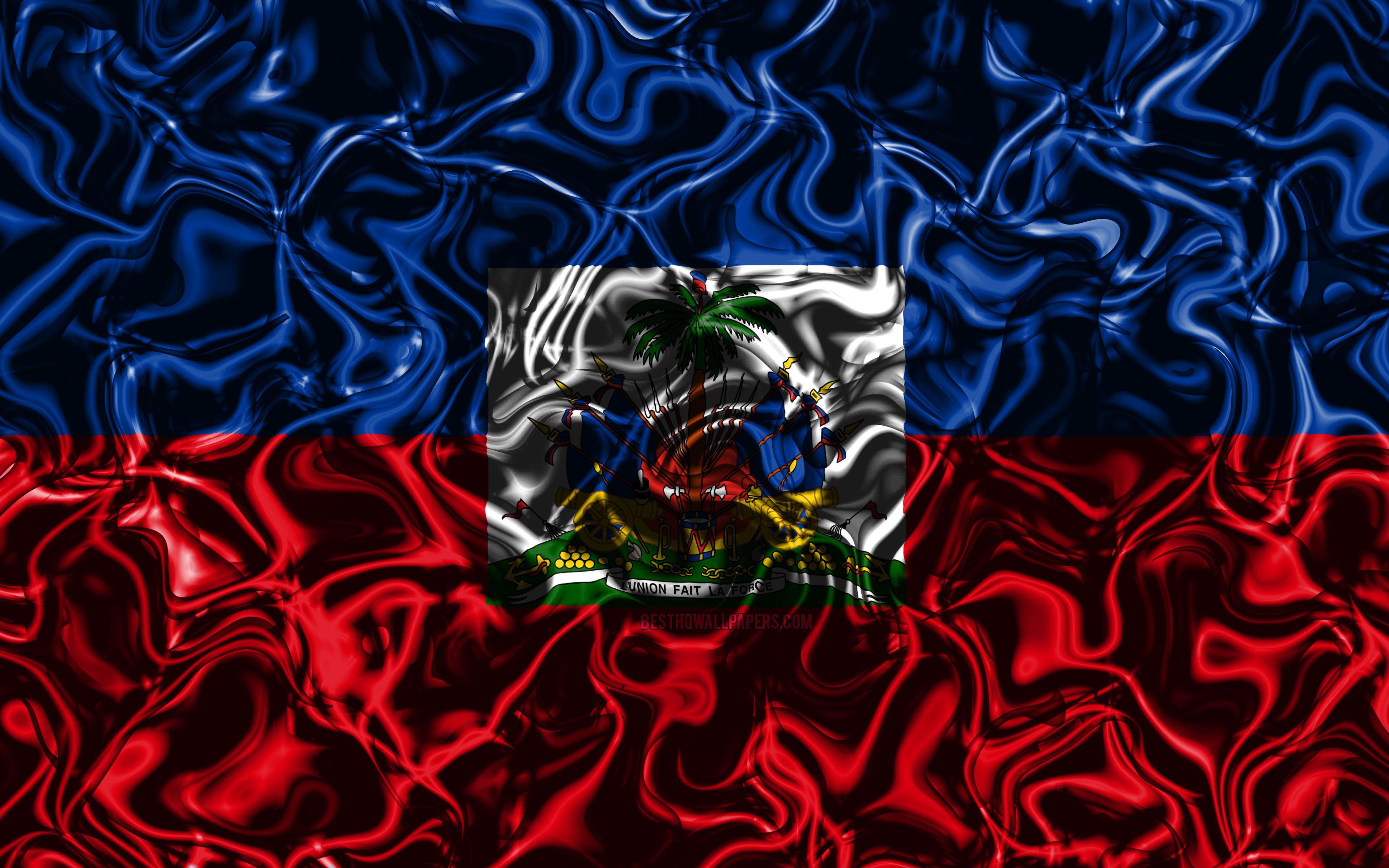4k Flag Of Haiti Abstract Smoke North America National 3840x2400