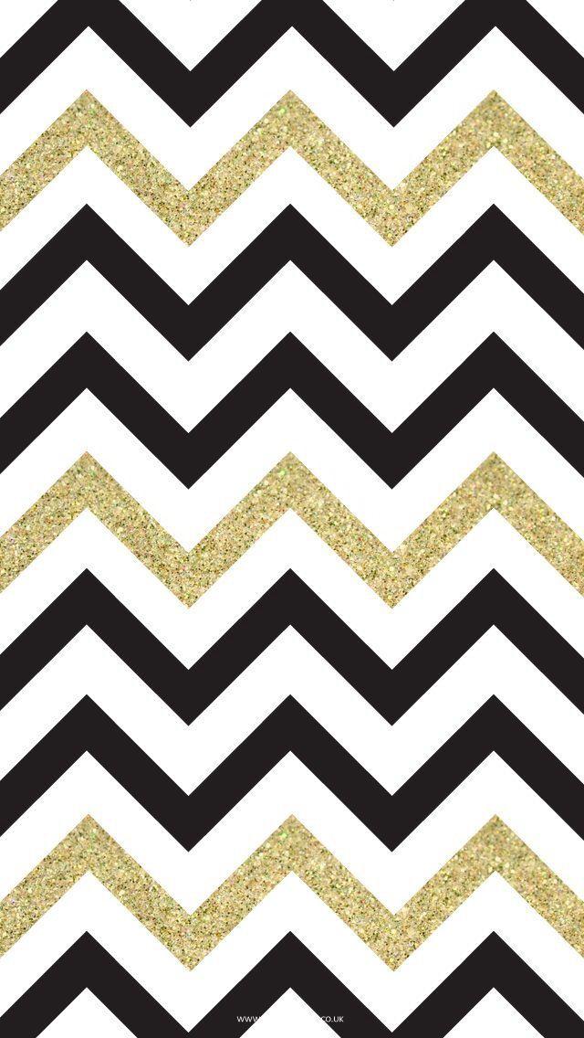 Black And Gold Chevron I LOVE My IPhone Pinterest 640x1136