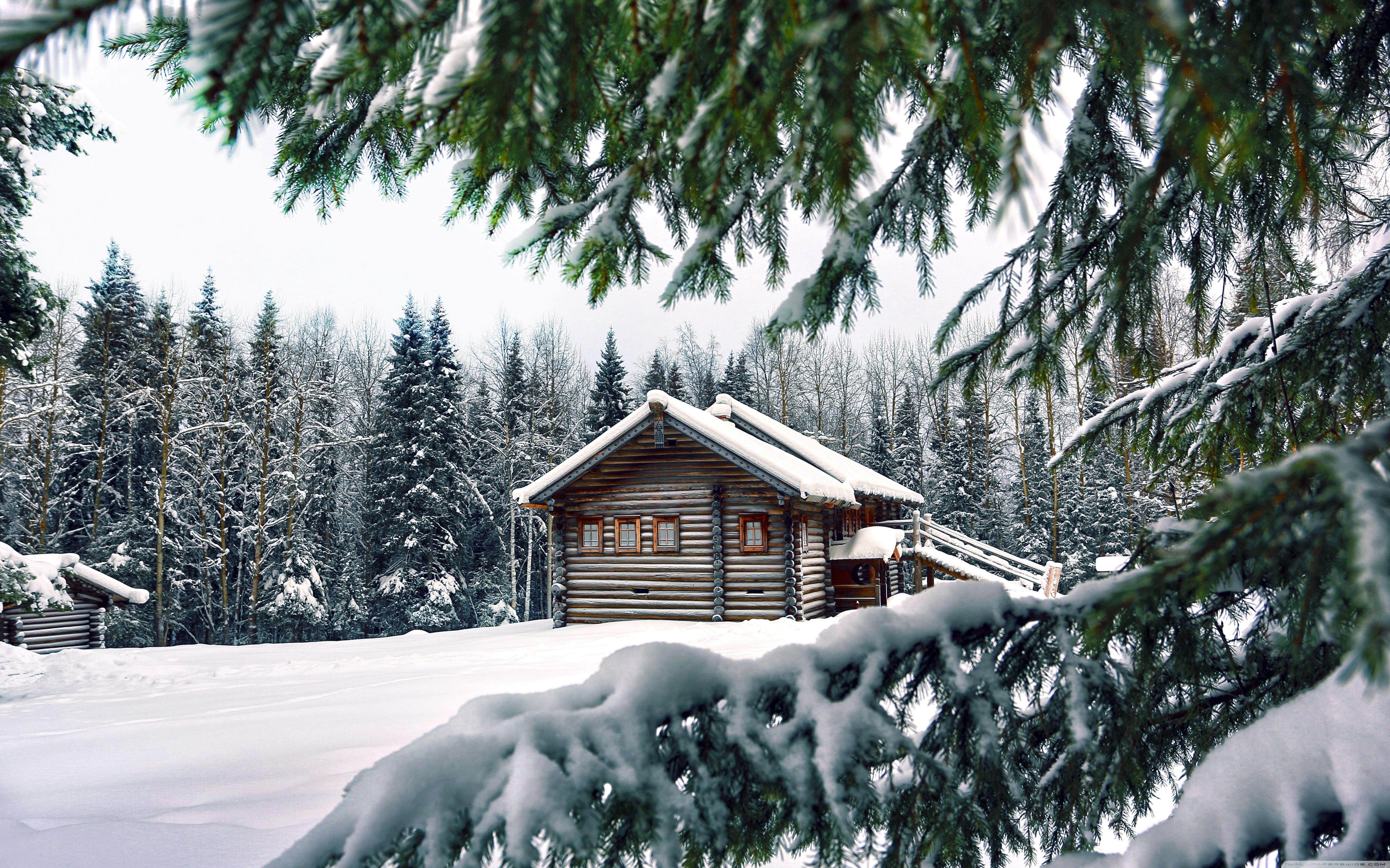 Mountain Retreat Winter Ultra HD Desktop Background Wallpaper for 5120x3200