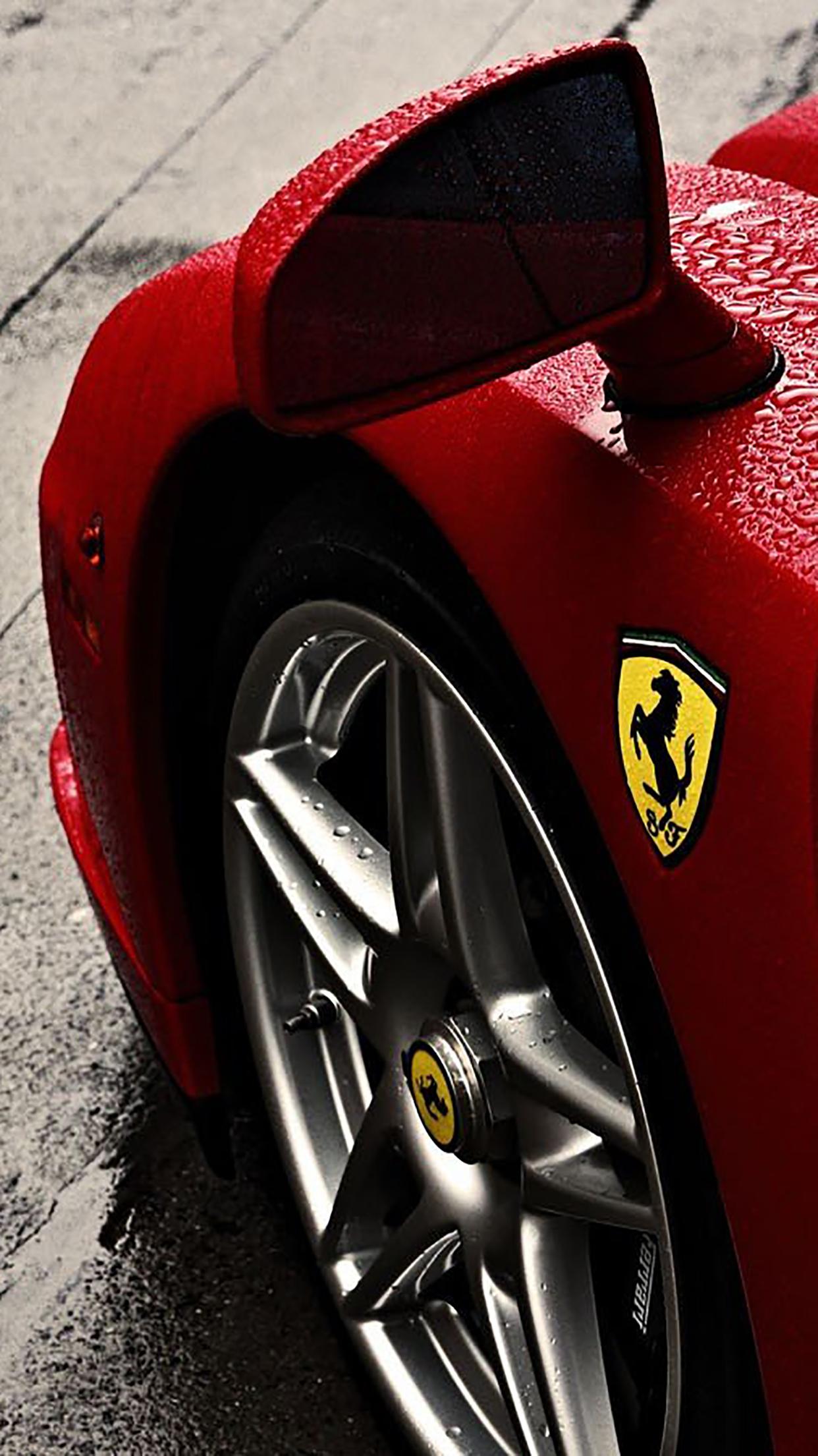 Free Download Ferrari Enzo Ferrari Logo Rain Wheel Wallpaper