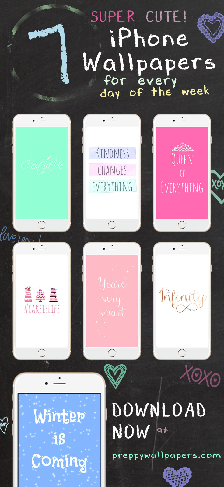 7 Super Cute iPhone Wallpapers for Every Day of the Week Preppy 736x1600