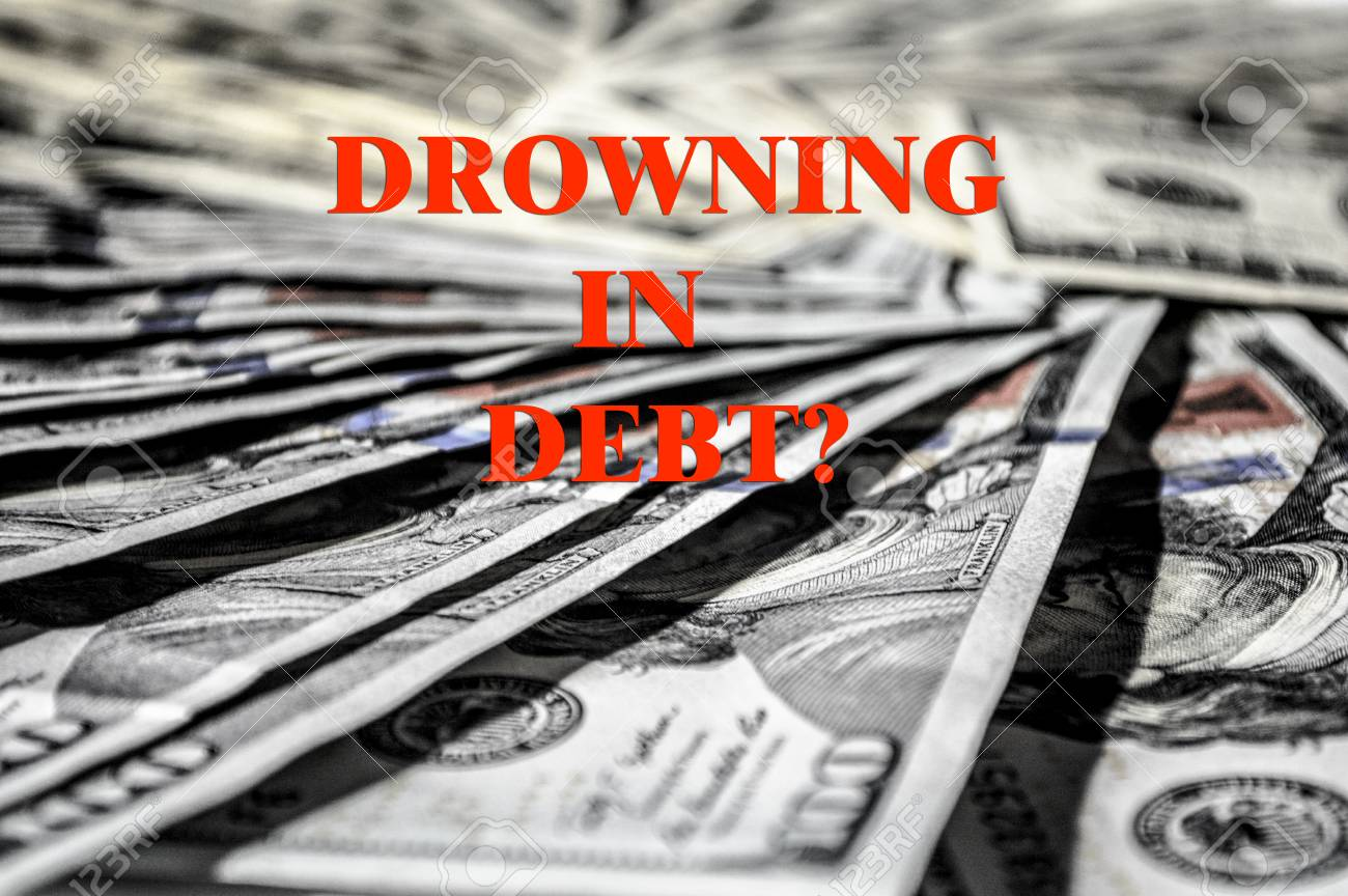 Drowning In Debt Word And USD Money Currency Picture Image 1300x864