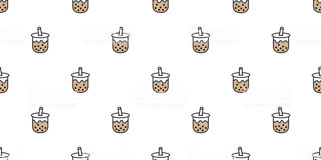 Boba Tea Seamless Pattern Vector Bubble Milk Tea Scarf Isolated 1024x512