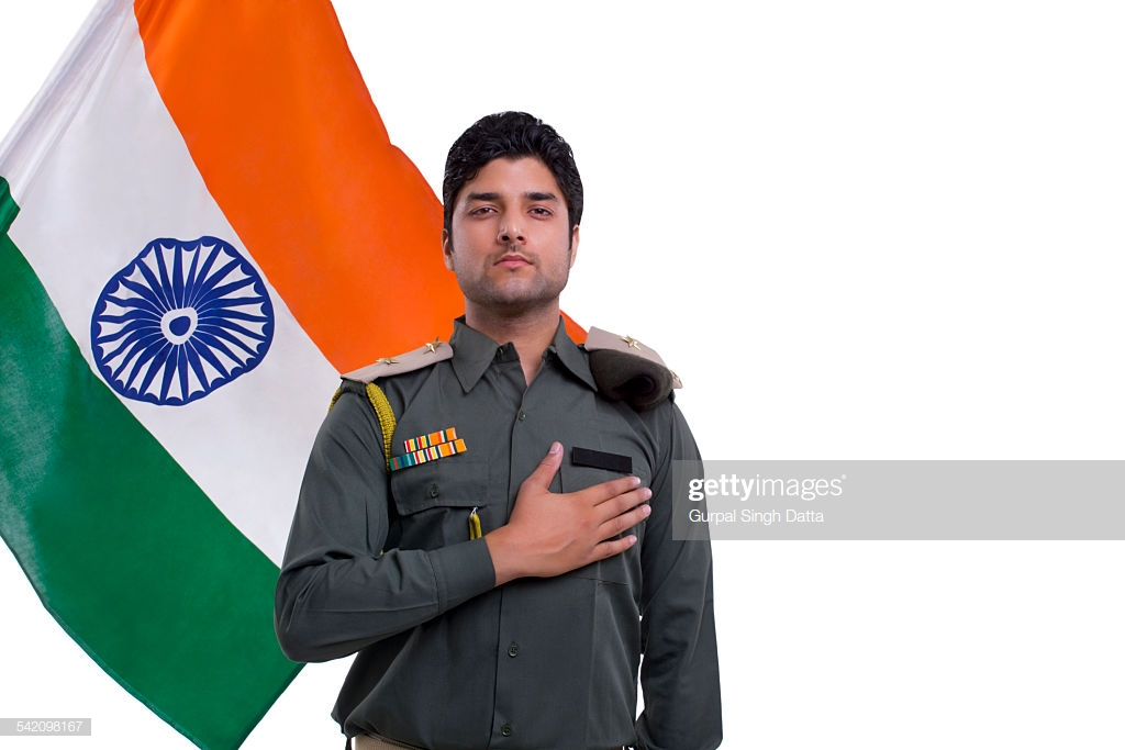 Security Guard Taking A Pledge With Indian Flag In The Background 1024x683