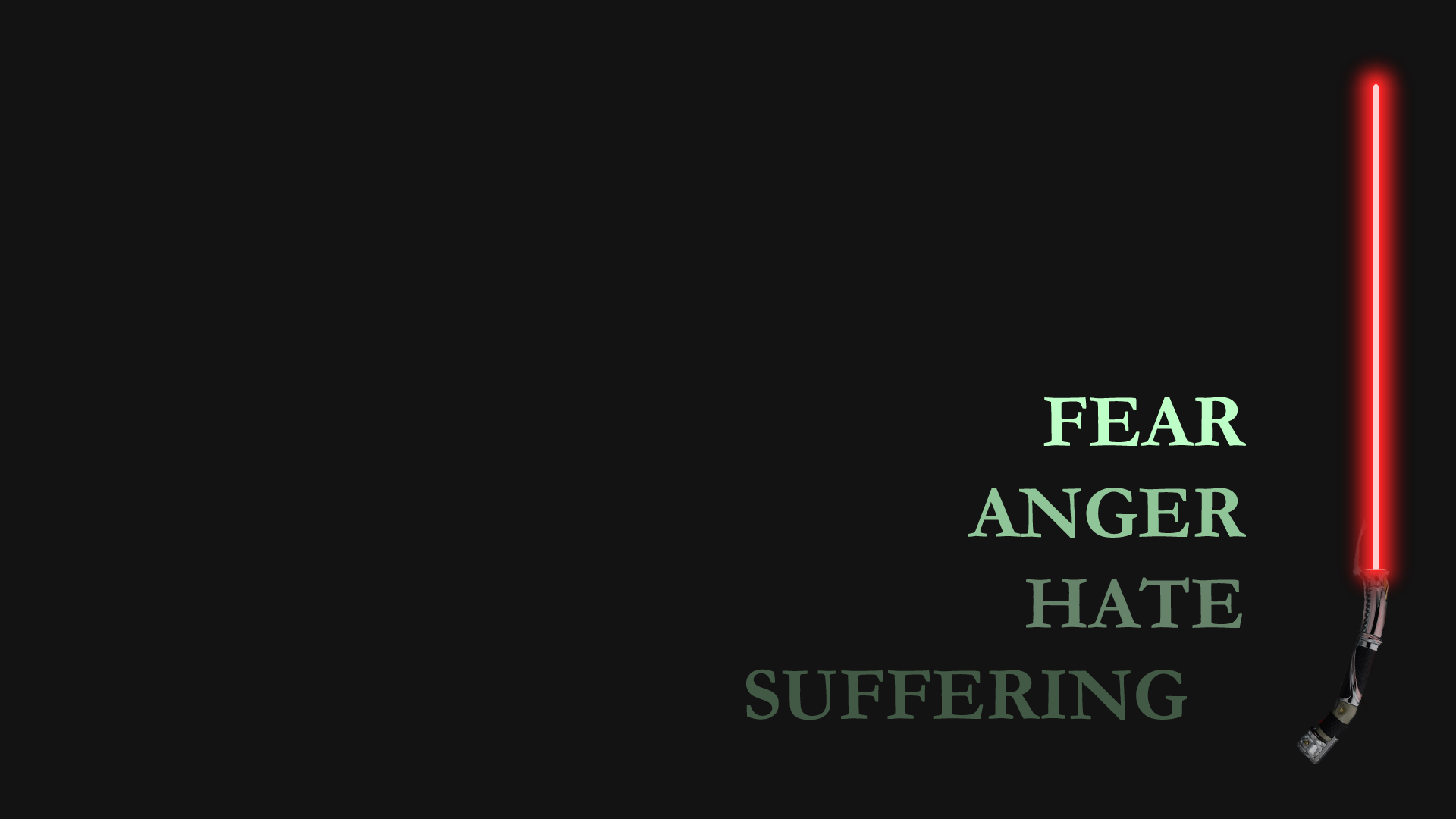 Star Wars Fear Anger Hate Suffering Lightsaber dark wallpaper 1920x1080