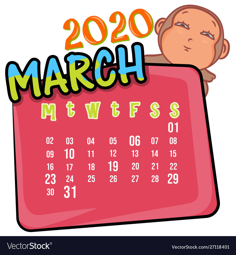 March 2020 month calendar Royalty Vector Image 1000x1080