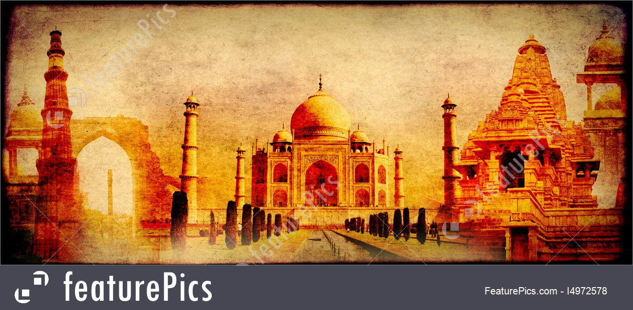 Grunge Background With Paper Texture And Landmarks Of India 1300x637