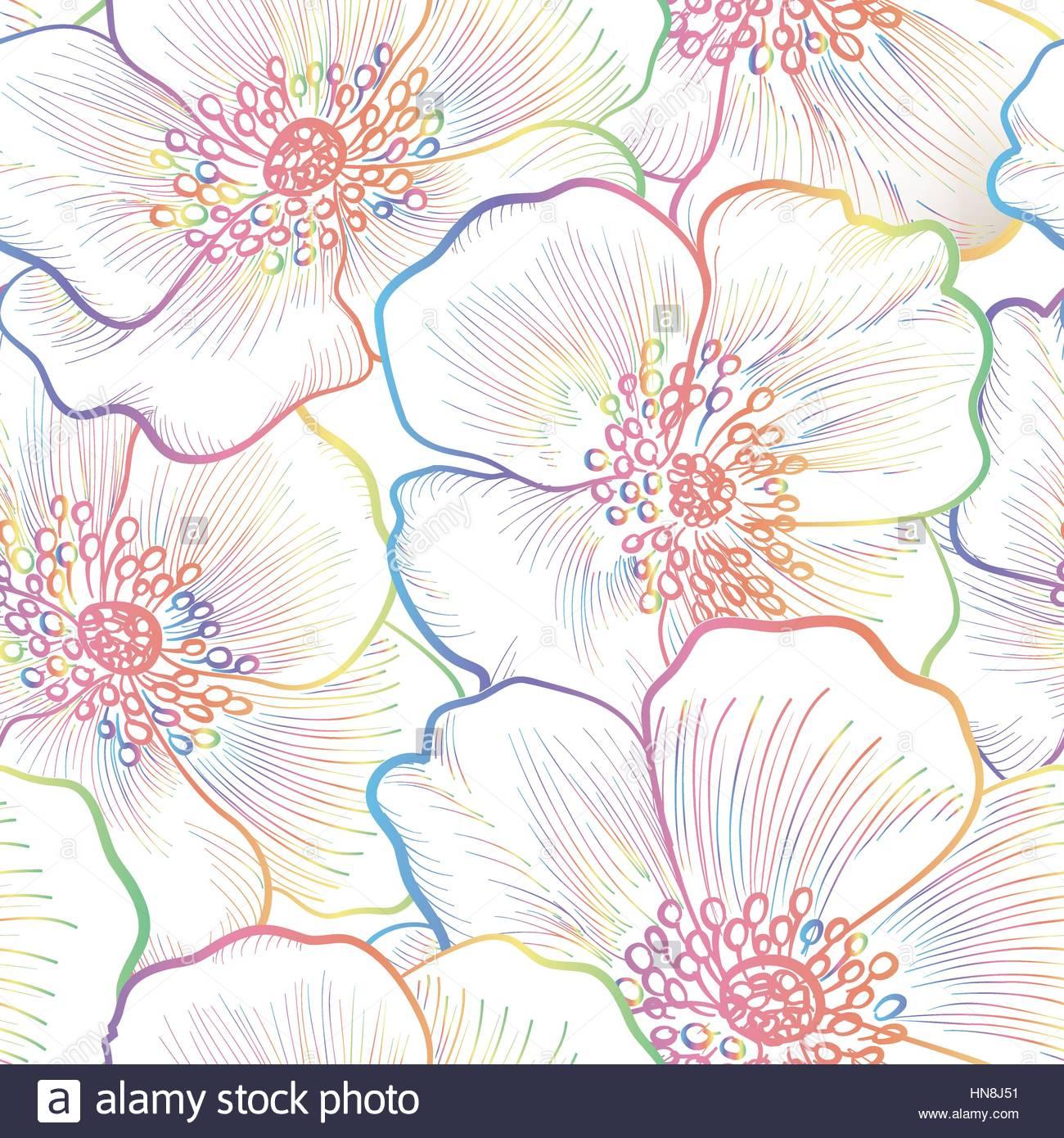 Floral seamless pattern Flower outline background Floral 1300x1390