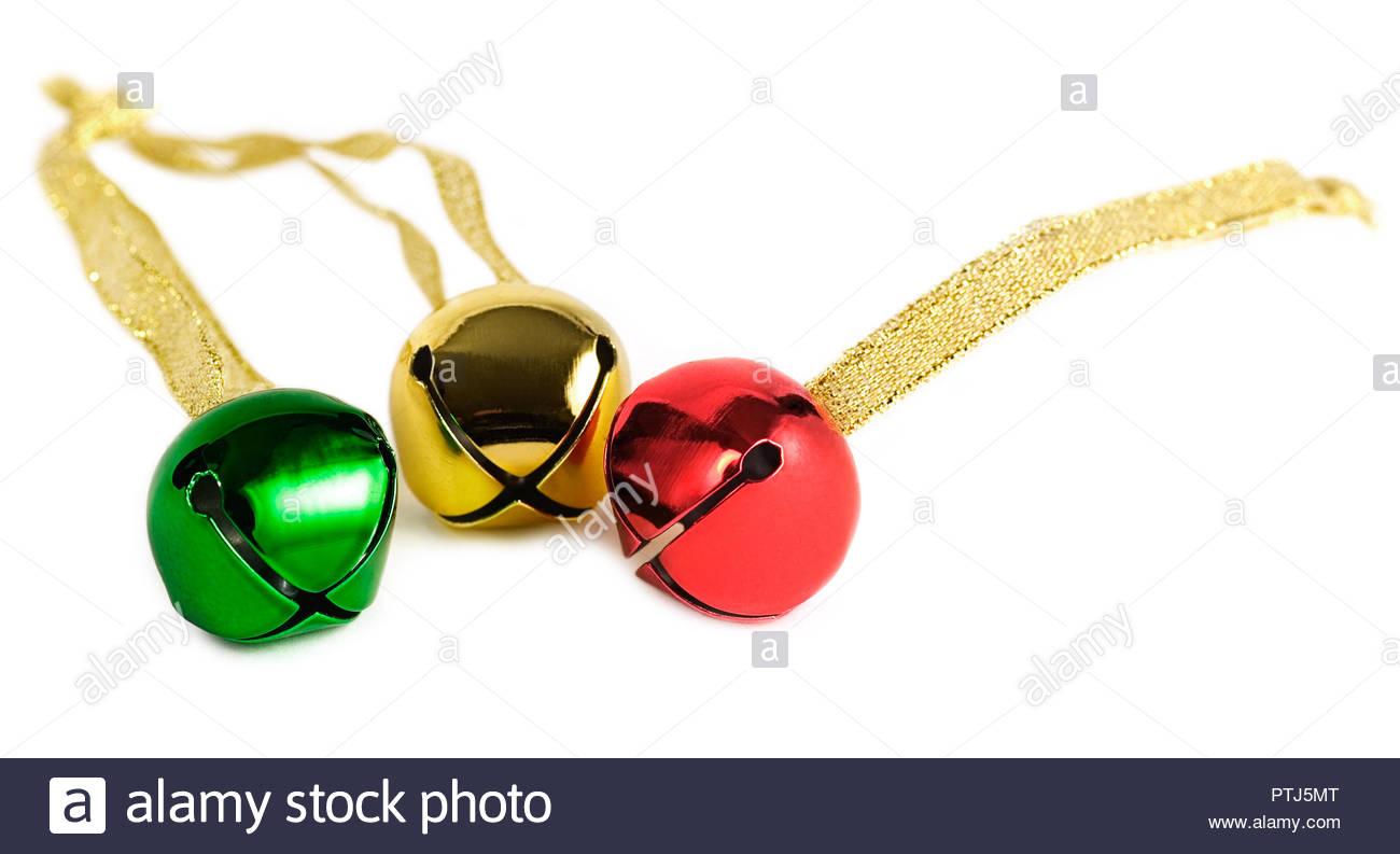 Christmas jingle bells on a white background Stock Photo 1300x793