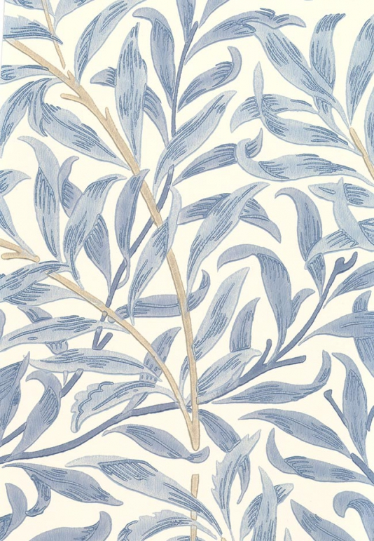 Boughs Wallpaper Climbing willow leaf print wallpaper blue on cream 534x771